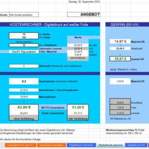 Kostenrechner für Digitaldrucke und Schneidplots