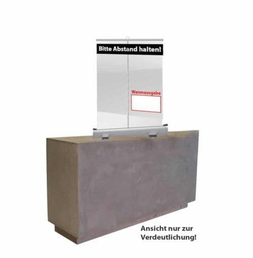 "Bedruckter Spuckschutz 1/2 Höhe ""Rollup"" für Apotheken, Praxen, Betriebe mit Empfang, Kioske, Ärzte etc."